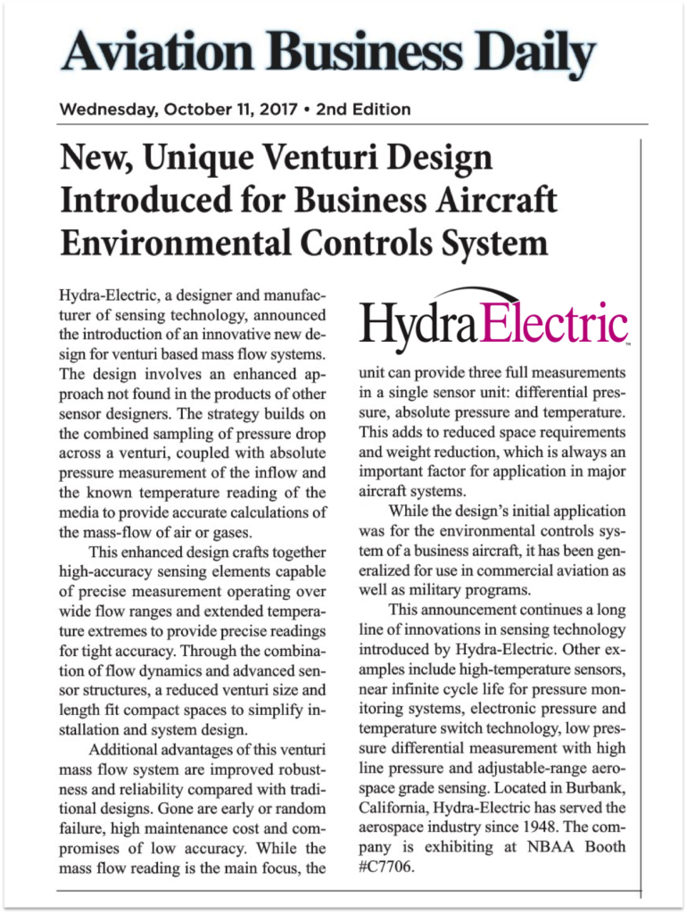 Aviation Business Daily article about Hydra's latest sensor design