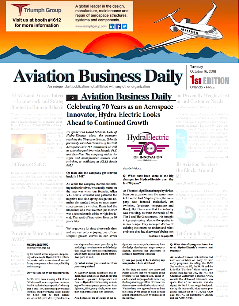 Aviation Business Daily article - Hydra-Electric Celebrating 70 Years