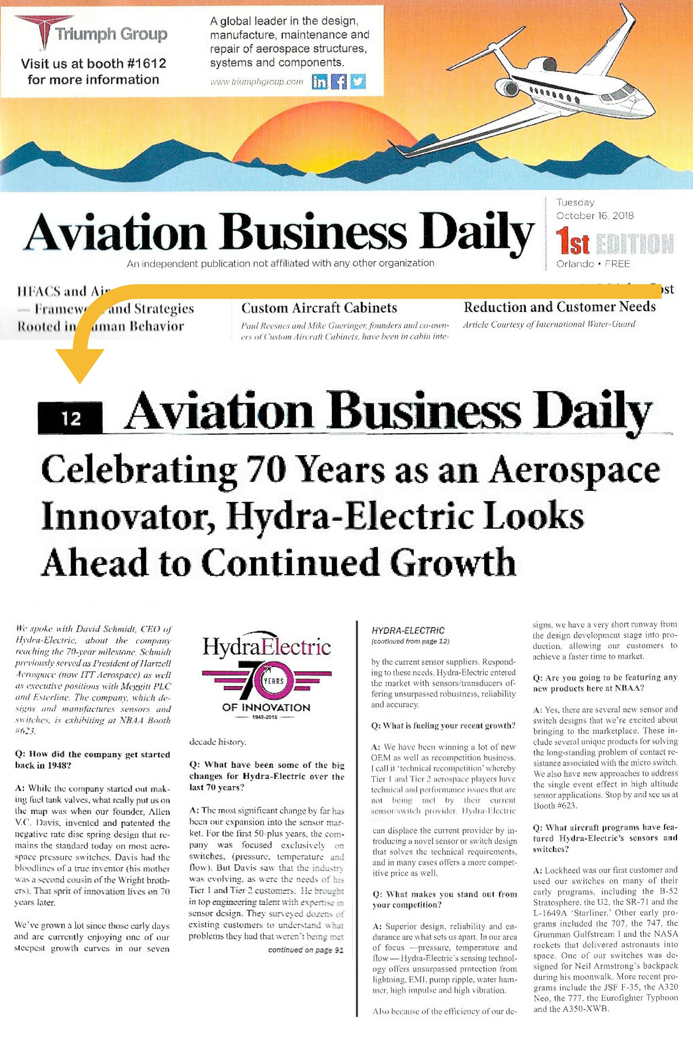 Hydra press in Aviation Biz Oct 2019_Q&A w David Schmidt